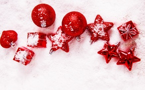 Picture winter, stars, balls, snow, balls, toys, New Year, Christmas, red, stars, the scenery, Christmas, holidays, ...
