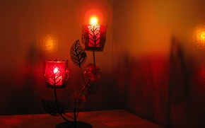 Picture light, fire, holiday, new year, candles, shadows, candle holder