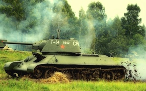 Picture tank, The red army, average, T-34-76, the action