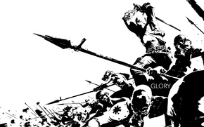 Picture art, gas mask, warriors, spears, glory, Barbara