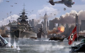 Picture The city, War, Ships