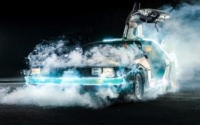 Picture background, smoke, the door, Back to the future, The DeLorean, DeLorean, DMC-12, the front, Back ...