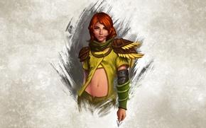 Picture girl, background, figure, Archer, fantasy, art, arrow, red, girl, armor, fantasy, green eyes, art, background, …