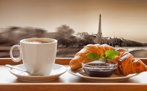 Picture Paris, coffee, chocolate, Breakfast, Cup, France, cakes, growing, breakfast, croissant