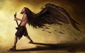 Picture guitar, sneakers, wings, Dimebag Darrell