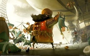 Picture ship, Black, steampunk, pirates, battle, Beard, Jakob Eirich