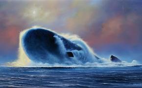 "Wallpaper 955, Northwind, boat, Oleg, picture, atomic, ""Yury Dolgoruky"", Yudin, Russian, underwater, artist, project"