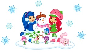 Picture winter, mood, the game, art, girl, puppy, New year, snowman, snowflake, children's, smile. kitty