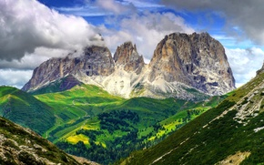 Picture the sky, clouds, trees, mountains, slope, Italy, The Dolomites