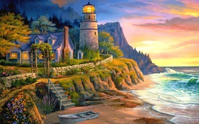 Picture sea, light, sunset, house, boat, lighthouse, the evening, ladder, painting, Michael Humphries, Lighting the Way
