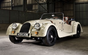Picture white, background, Roadster, hangar, supercar, the front, 2004, Morgan, Roadster, Morgan