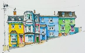 Picture paint, figure, home, watercolor