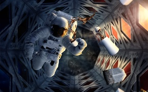 Picture space, coffee, the suit, Cup, helmet, astronaut