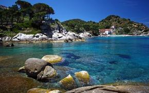 Picture sea, nature, stones, photo, coast, Italy, Toscana, Portoferraio