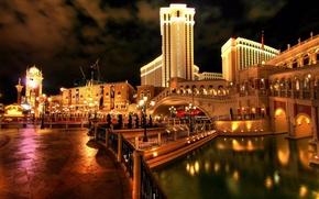 Picture water, night, bridge, the city, lights, reflection, beautiful, the hotel, bright, Venice, burn, hotel, venice, …
