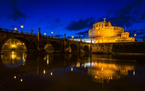 Picture the sky, clouds, bridge, river, Rome, Italy, The Tiber, Castel Sant'angelo