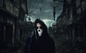 Picture the darkness, skull, black, mantle, killer, hanging