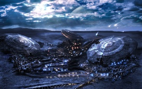 Wallpaper planet, UFO, fantasy