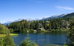 Picture forest, trees, mountains, lake, rocks, Canada, houses, Lake Whistler