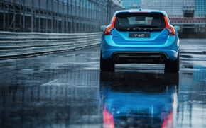 Picture asphalt, blue, puddle, the fence, volvo, Volvo, universal, feed, v60, polestar, B60