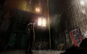 Picture the city, rain, street, keepers, rorschach, Comics, Rorschach, watchmen
