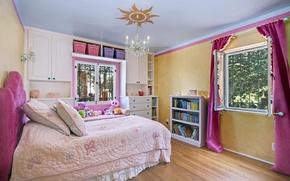 Picture children's, interior, books, toys, bed, wardrobe