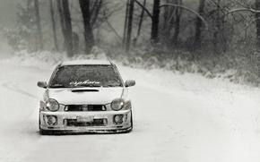 Picture winter, tuning, snowfall, subaru impreza, Subaru