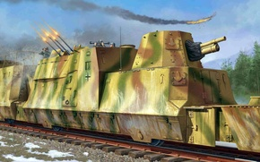 Picture figure, art, the plane, defense, Armored train., Cannons un anti-aircraft car, Platoon, Train, armored rail …