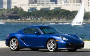 Wallpaper Porsche, Blue, Cayman