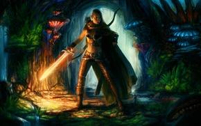 Picture girl, mushrooms, sword, bow, art, cave, cloak, burning