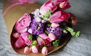 Picture bouquet, tulips, pink, buttercups