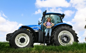 Picture girl, jeans, tractor, farmer
