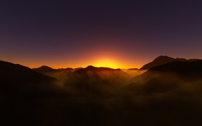Picture light, sunset, mountains, nature