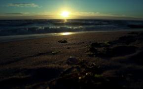 Picture sand, sea, water, the sun, macro, rays, landscape, sunrise, surf, macro