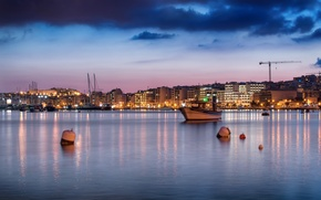 Picture sea, the sky, clouds, the city, coast, home, boats, the evening, lighting, pink, blue, Malta, …