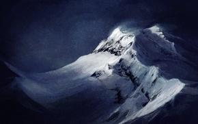 Wallpaper snow, landscape, mountains, background, the wind, art, top, Atenebris