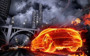 Wallpaper graphics, auto, the city, fire