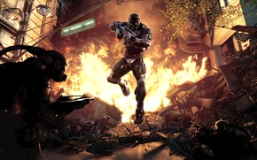 Picture The city, Fire, Weapons, Shooting, Slaughter, Crisis 2, Crysis 2