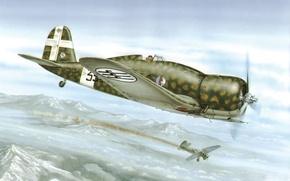 Picture war, art, airplane, painting, aviation, ww2, Fiat G. 50-II Regia Aeronautica