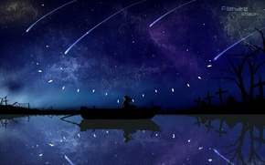 Picture the sky, water, girl, stars, night, boat, wings, anime, art, crystals, touhou, flandre scarlet
