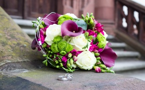 Picture flowers, roses, bouquet, ring, wedding, flowers, roses, wedding, Calla lilies, rings, bouquet-Calla lilies