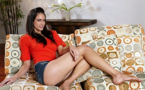 Picture BODY, LOOK, FEET, BROWN hair, SHORTS, BLOUSE