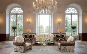 Picture design, style, sofa, furniture, lamp, roses, interior, chairs, chandelier, vase, table, large Windows, Dom-castle