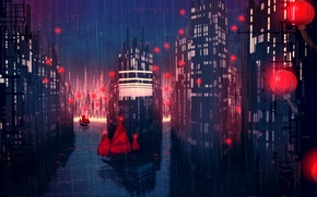 Picture night, the city, rain, ships, art, lights, red, East, pouring, Redlamp city