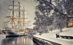 Picture winter, snow, the city, ship, hdr, Sweden