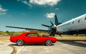 Picture Chevrolet, Camaro, red, muscle car, Plane, Andrew Link Photography