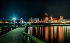 Picture night, bridge, lights, river, home, Germany, lights, Binz