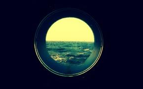 Picture sea, rain, boat, Windows, horizon, the troubled sea