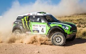 Picture Auto, Dust, Sport, Green, Machine, Race, Day, Mini Cooper, Rally, Dakar, SUV, MINI, Side view, ...