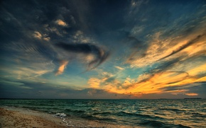 Picture sea, beach, clouds, sunset, the evening